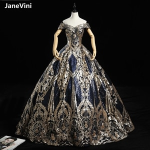 JaneVini Luxury Navy Blue Puffy Ball Gown Evening Dresses 2020 Sparkly Sequins Off Shoulder Muslim Dress Women Formal Night Wear
