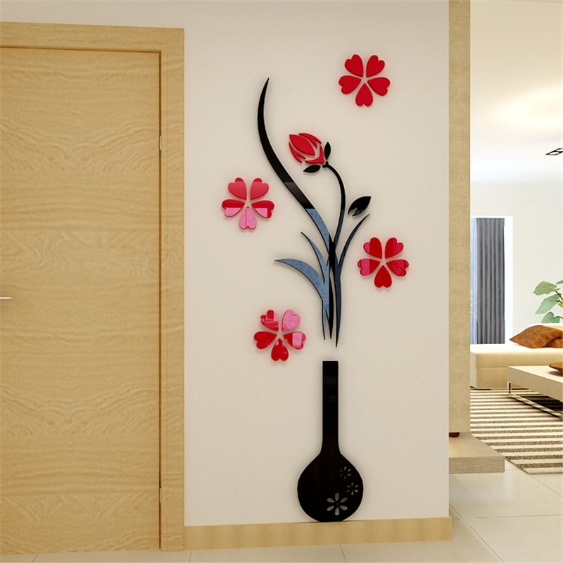 Pegatinas de pared tridimensionales Love 3D para sala de estar, dormitorio, cabecera, sofá, pared, decoración cálida, pegatinas de acrílico para pared