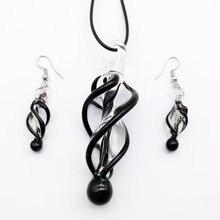 1 ensemble nouvelle vente bijoux perles ensemble Sterling tourbillon Lampwork verre Murano perle collier boucle doreille mode livraison gratuite