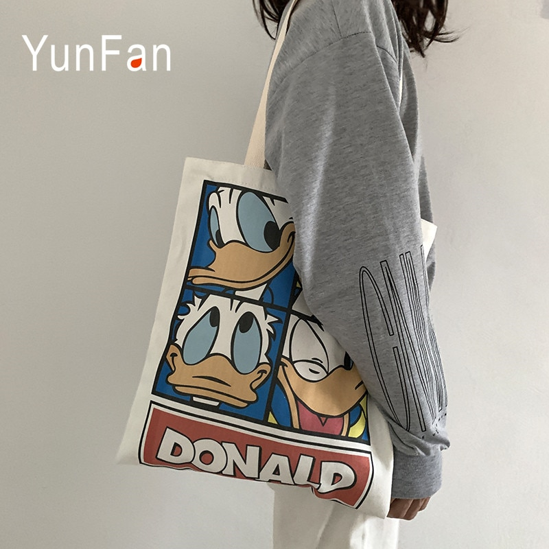 Donald lienzo con dibujo de pato bolsa de mujeres hombro Harajuku japonés Ulzzang de dibujos animados cremallera estudiante de Damas bolsa de compras