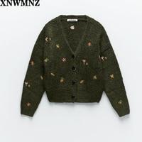 XNWMNZ Za женский винтажный вязаный кардиган с вышивкой с длинными рукавами V-образным вырезом ребристая отделка кардиган женский элегантный с...