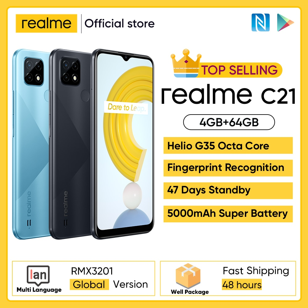 realme C21 Smartphone Global Version Helio G35 Octa Core 4GB RAM 64GB ROM 6.5'' inch display 5000mAh Large battery 3-Card Slot