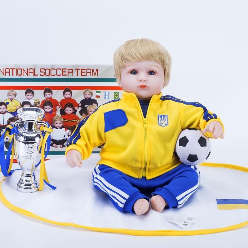 Reborn baby dolls realistic football team Ukraine boy toys gift 18 inch doll reborn