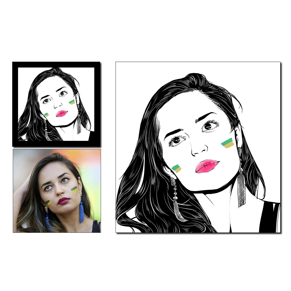 P01 Hand-painted Portrait Customized Black White Comic Pop Style Character Avatar Design Personal Custom Photo To Hand Painting