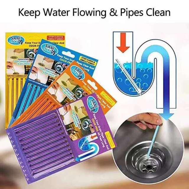 Sani bâtonnets de décontamination dhuile   La cuisine, nettoyant de baignoire et de toilette, tige de nettoyage des égouts, pratique et transparente 12/ensemble