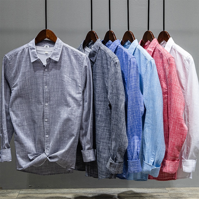 Простые однотонные Цвет мужские 100% хлопковые рубашки мужские качественные сапоги до середины голени для отдыха рубашка с длинными рукавам...