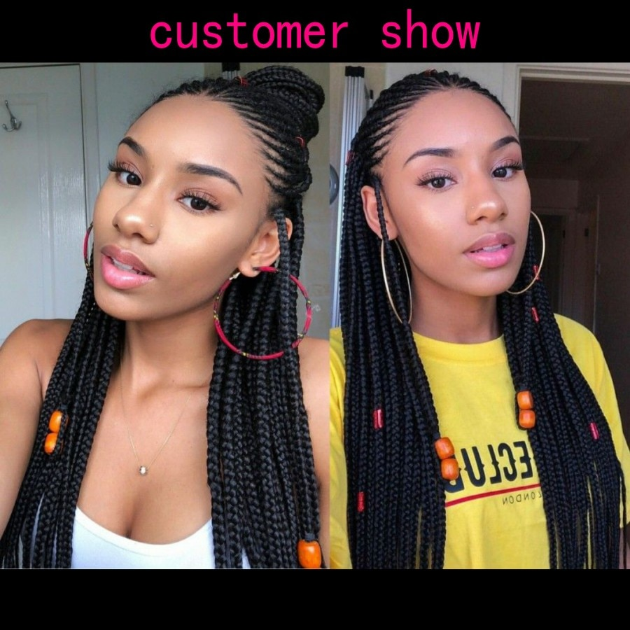 Africa Box Braids Synthetic lace front wig Black Hair Heat Resistant Cornrow Braided Lace Wig With Baby Hair For Black Women enlarge