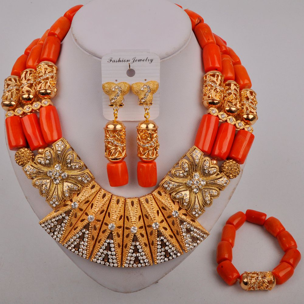 Review Orange Nigerian Wedding Coral Necklace African Beads Jewelry Set Dubai Gold Bridal Jewelry Sets for Women