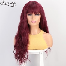 I's a wig Water Wave Synthetic Wigs Red Long Wigs with Bangs for Women Cosplay Middle Part Brown Black Purple Brown Wig