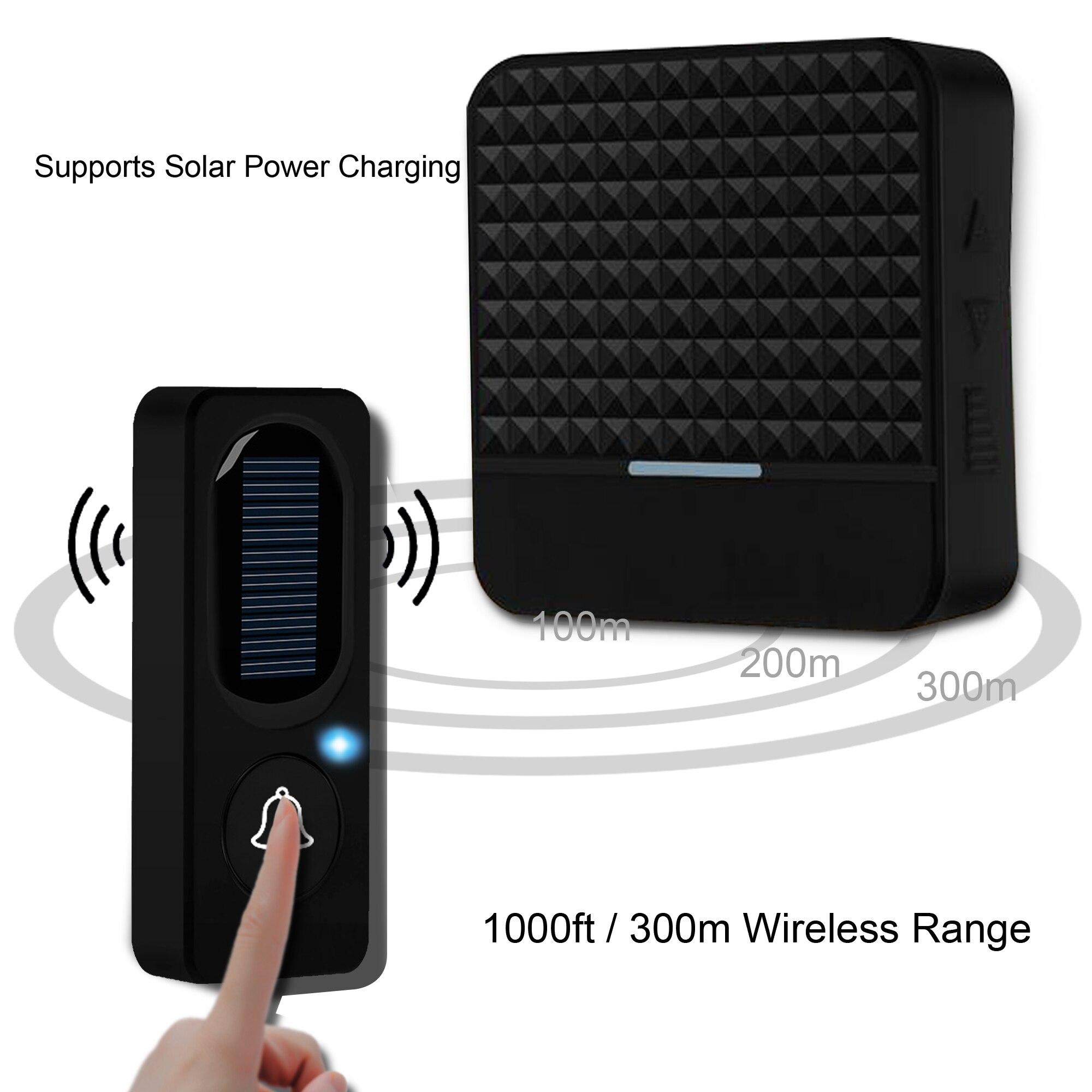 300m Long Range Solar Power Wireless Waterproof IP65 Doorbell With Transmitter+ EU US UK Plug Receiv