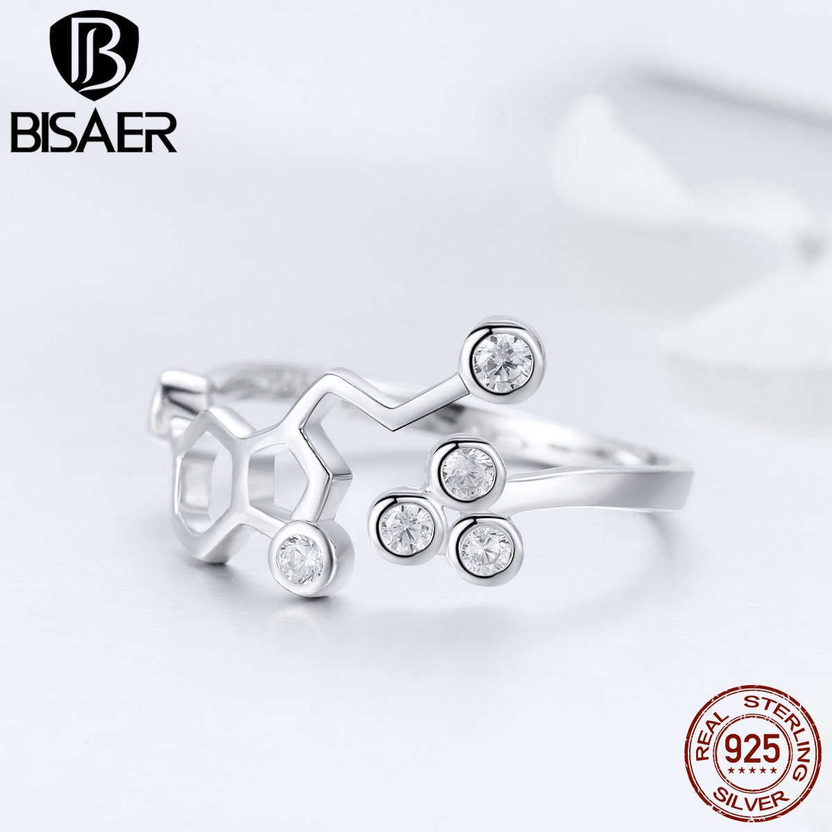 BISAER nuevo 925 plata esterlina hexágono Honeycube tamaño libre anillos abiertos para dedos para mujeres joyería de buenos de lujo para mujeres GXR433
