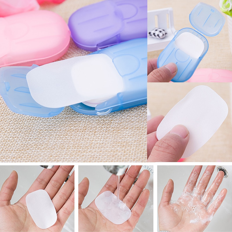 aliexpress.com - 20pcs/ Box Travel Portable Disinfecting Paper Soaps Washing Hand Mini Disposable Scented Slice Sheets Foaming Soap Case Paper