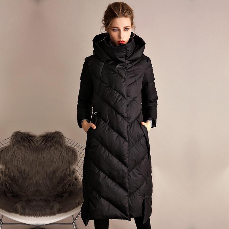 Women down coats luxury autumn winter warm fashion 90% white duck down Jackets Female lady long puffer hooded casual black  slim