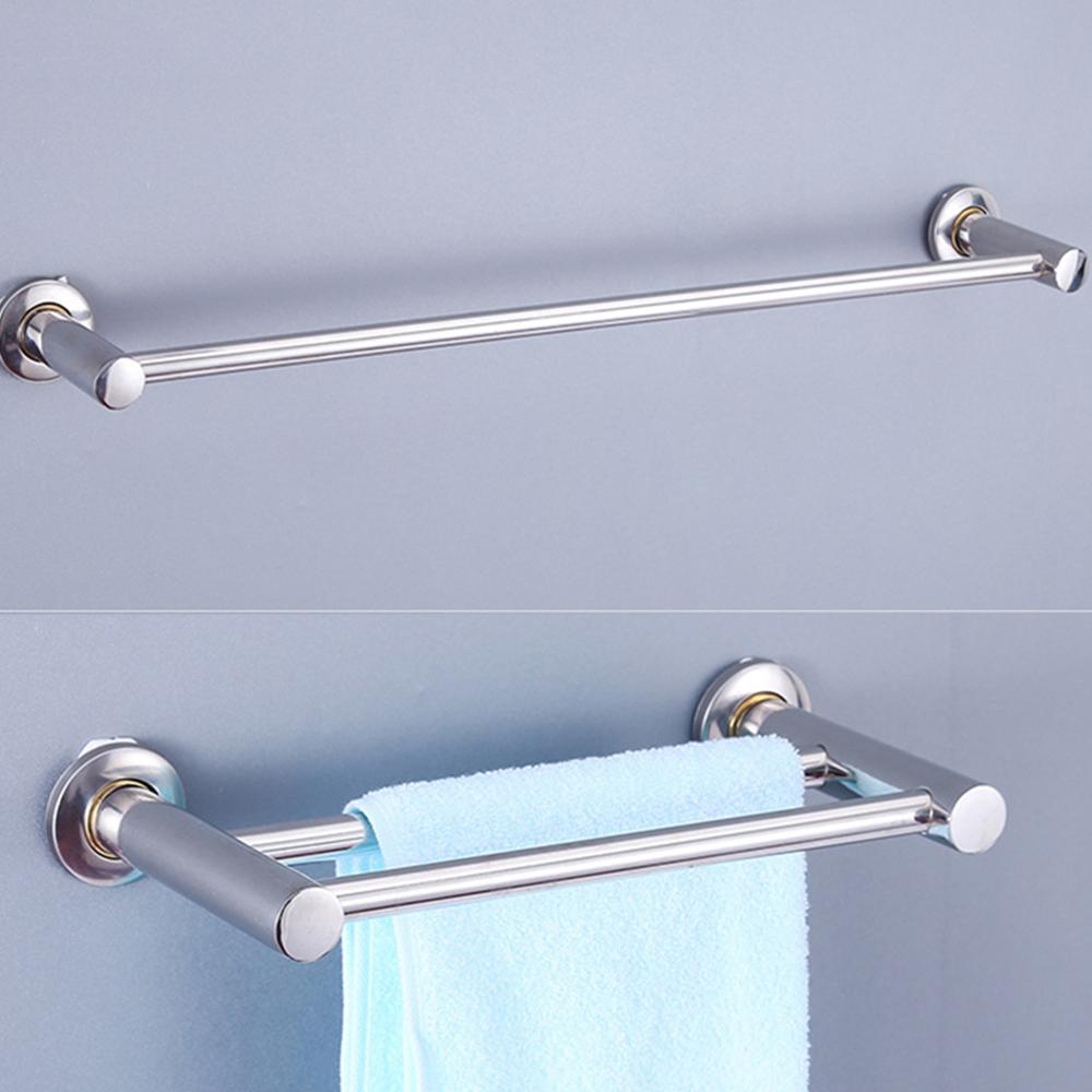 Wall-Mounted Bathroom Long Stainless Steel Towel Bar Single Pole Double Rack Hanging Rod