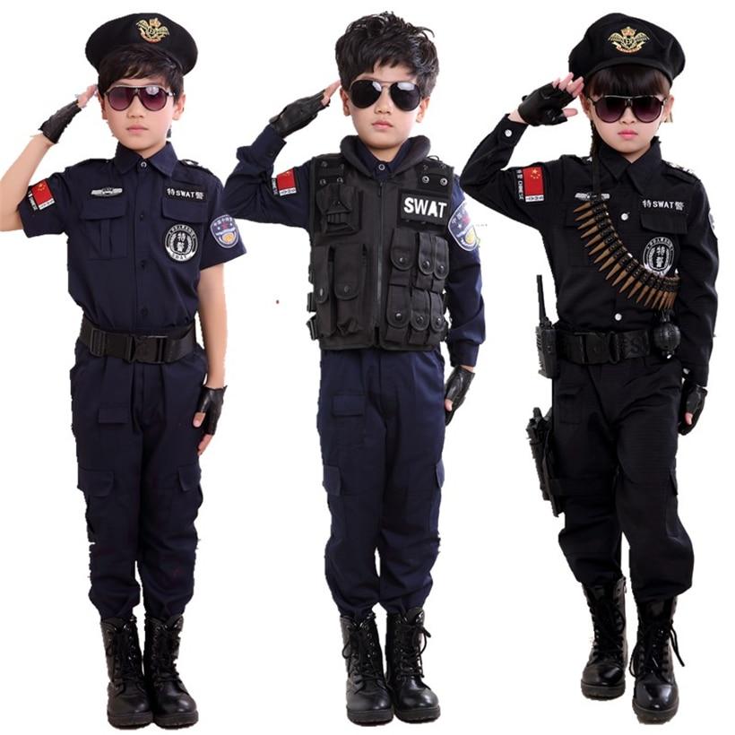 Jungen Polizisten Kostüme Kinder Cosplay für Kinder Armee Polizei Uniform Kleidung Set Langarm Kampf Leistung Uniformen