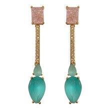 fashion light blue cz simple long drop earring for women