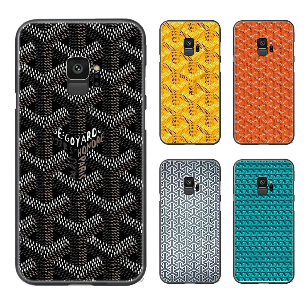 Marcas francesas de lujo Goyard funda de teléfono casco para Samsung Galaxy S 6 7 8 9 10 e 20 edge uitra Note 8 9 10 plus negro Etui