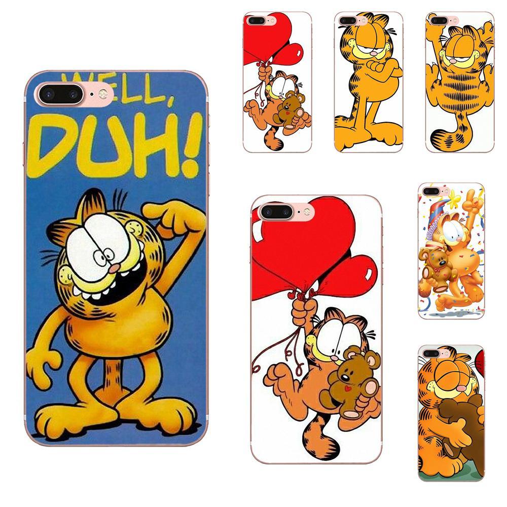 De dibujos animados lindo Garfield gato Gif para Samsung Galaxy A10 A20 A20E A3 A40 A5 A50 A7 J1 J3 J4 J5 J6 J7 2016, 2017 de 2018 TPU caso suave