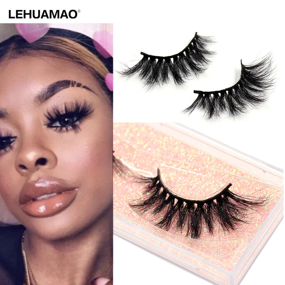 LEHUAMAO Eyelashes 3D Mink Eyelashes Criss-cross Strands Cruelty Free High Volume Mink Lashes Soft Dramatic Eye lashes E1 Makeup недорого