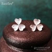 bastiee 999 sterling silver clover flower stud earrings for women small earing studs miao silver luxury jewelry hmong handmade