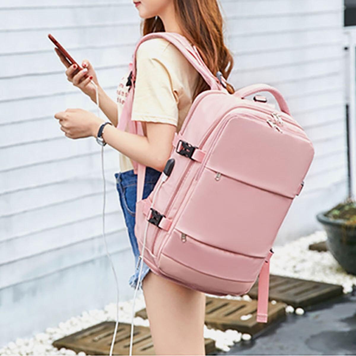 مقاوم للماء النايلون على ظهره المرأة حقيبة سفر مع منفذ شحن USB وحجرة الأحذية حقيبة مدرسية بلون فاسيون حقيبة لابتوب