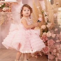 layer pink girl birthday dress puffy ball gown girl party dress sleeveless tulle girl princess dress mother baby robe de bal