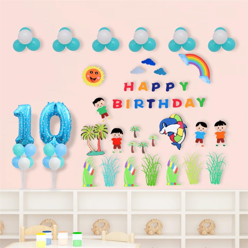 Multi 3d eva espuma adesivo de parede crianças jardim de infância escola material diy festa aniversário balões decoração para casa acessórios eva-t1