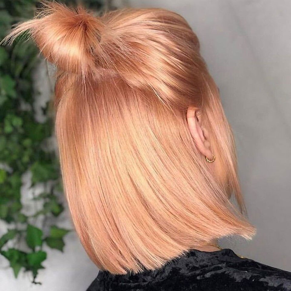 Joedir Bob Lace Front Wigs Rose Gold Wig Human Hair Brazilian Ombre Blonde Colored Pink Part
