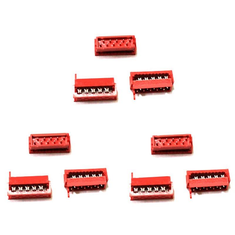 10 Uds Micromatch rojo 2,54mm mujer encabezado de caja IDC conector 4P 6P 8P 10P 12P 14P 16P 18P 20P 22P 24P 26P al por mayor