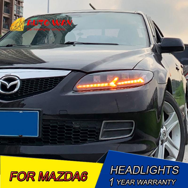 Car Styling Head Lamp case for Mazda6 Headlight 2003-2015 Headlights 2011-2015 Mazda 6 M6 LED Headlights LED Angel Eye