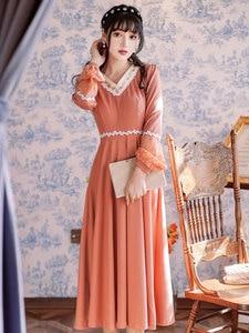 Summer New Women's Girls Palace Style Retro Lace Stitching Long Dress Japanese Style Travel Vacation v-Neck Embroidery Dress