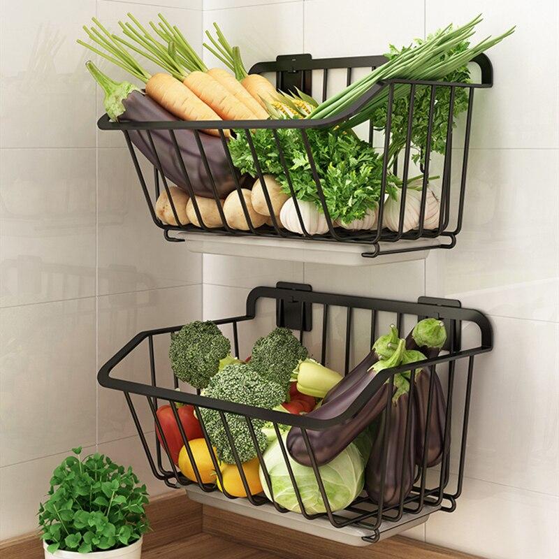 الفولاذ المقاوم للصدأ أدوات تُعلَق على جدار المطبخ سلة التخزين رف توابل الفاكهة الخضروات مع استنزاف المنظم طبق تجفيف الرف الحاويات