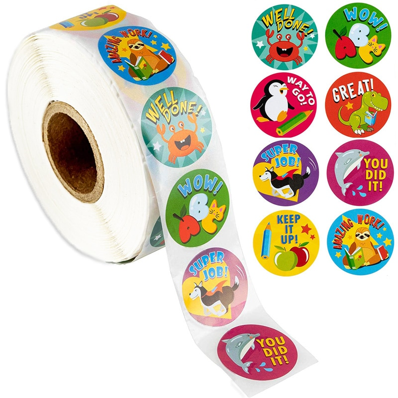 500 Pcs Reward Stickers Motivational Stickers Roll for Kids for School Reward Students Teachers Cute Animals Stickers Labels