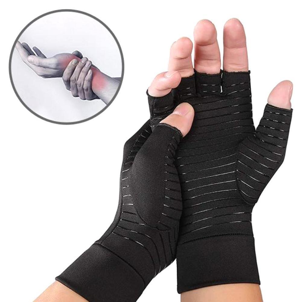 1 par de guantes para artritis dolor alivio de la terapia de las mujeres del túnel carpiano los hombres Anti-slip cobre guantes Ty G7L8