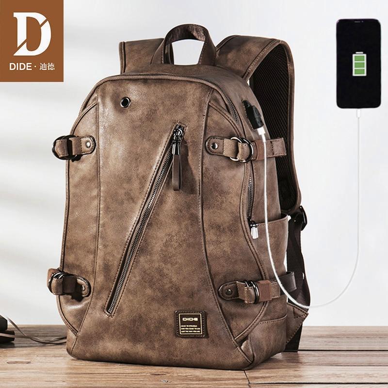 Мужской кожаный рюкзак DIDE, водонепроницаемый дорожный рюкзак с USB-разъемом для ноутбука, винтажный школьный ранец для подростков, 2021
