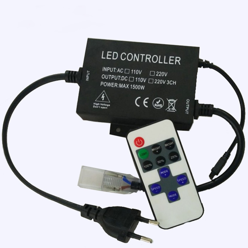 110V 220V Led regulador de intensidad 1500W con controlador de 11 llaves IR remoto para cinta de Led de único Color Dimmer enchufe de la UE/US plug