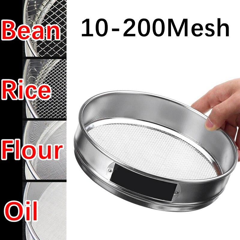 Tamiz de harina redondo de acero inoxidable 304 de 10/15/20cm, partículas de cocina, tamiz de filtro de azúcar en polvo de frijol, dispositivo de tamiz para hornear