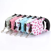 automatic dogs leash dog traction rope retractable flexible durable pet patrol ropes fashion printed cat collar puppy product