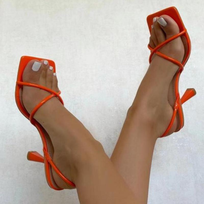 Sandalias De tacón De aguja con punta cuadrada para Mujer, Zapatos femeninos...