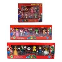 6pcsset 3 7cm super mario bros pvc action figure toys dolls mario luigi yoshi mushroom donkey kong in gift box lovely kids gift