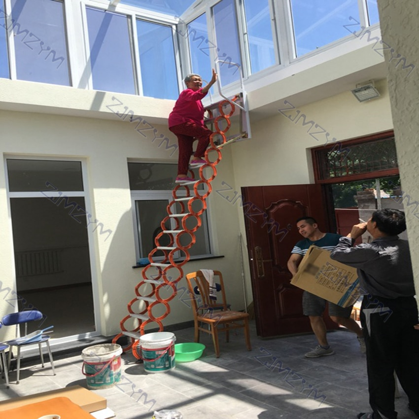3.1-3.5m Outdoor Hanging Retractable Staircase Manual Wall Mounted Folding Ladder Portable Telescopic Stairs Household Tool Set enlarge