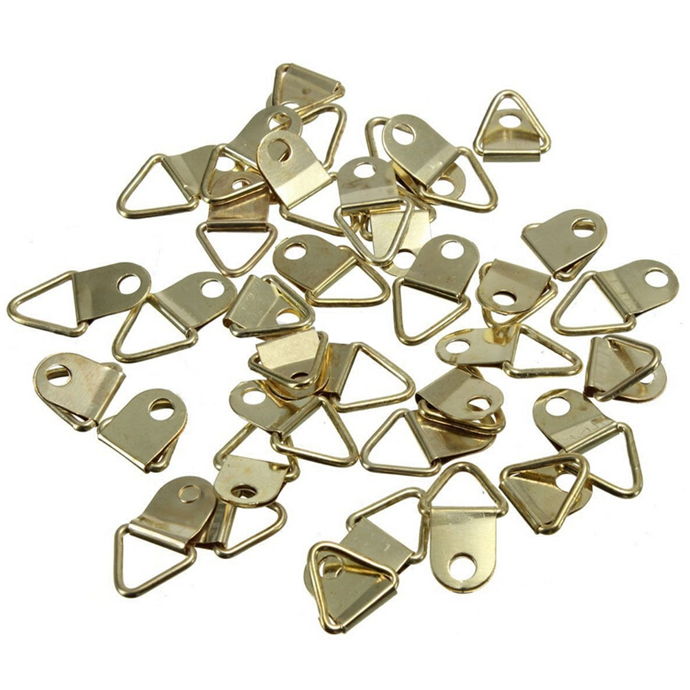 ZLinKJ 20 pièces/lot en gros Triangle en laiton doré d-ring photo peinture à lhuile miroir cadre mural crochets cintres