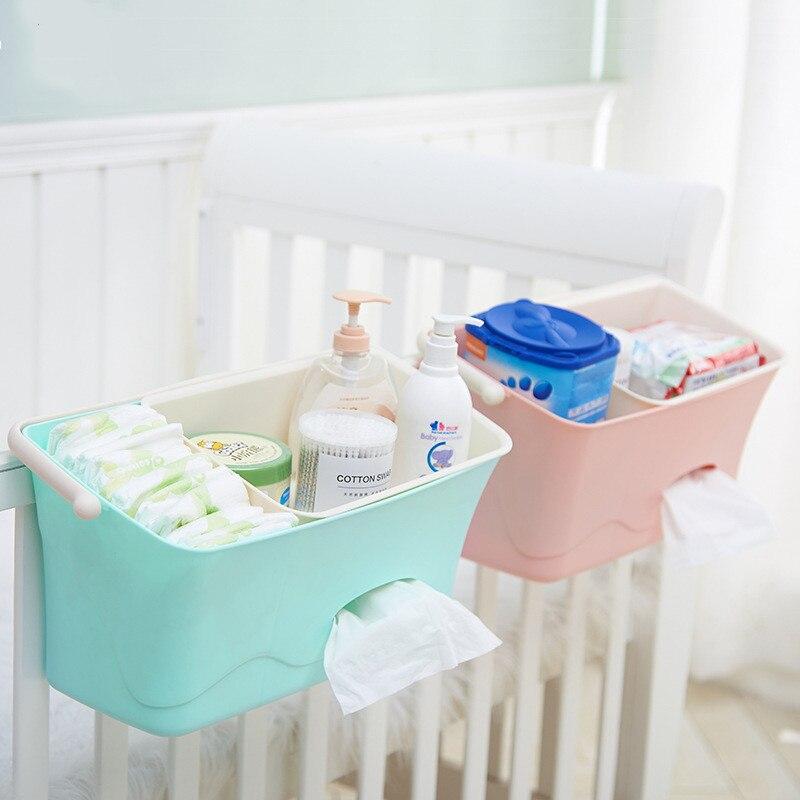 Newborn Baby Crib Bed Hanging Storage Box Inafnt Nappy Diaper Organizer Box Portable Children Bedding Storage Rack Food Grade PP