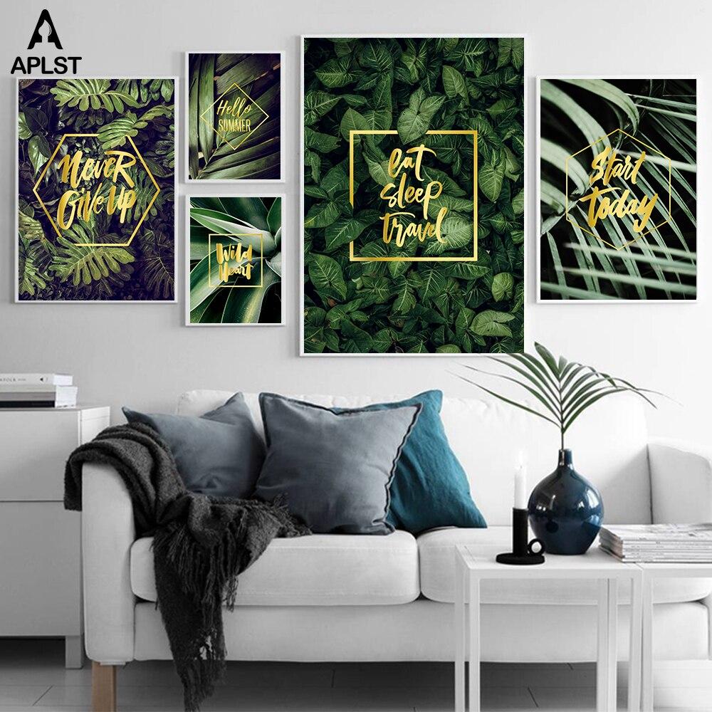 Planta Tropical hojas verdes lienzo arte impresiones y carteles nunca dejar citas inspiradoras imagen pintura moderna sala de estar