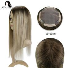 Perruque complète Remy faite Machine ombré 13x13cm   Perruque en cheveux 100% naturels, extension capillaire, avec Clips, couleur Mono