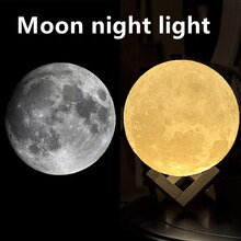 LED Night Light 3D Print Moon Lamp 8CM/12CM With Stand Battery Powered Soft Lighting Creative Bedroo