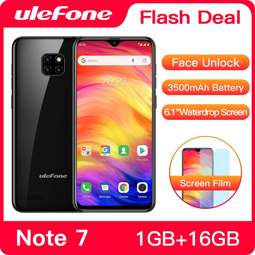Ulefone-Smartphone Note 7, 3500mAh, 19:9, Quad Core, pantalla gota de agua de...