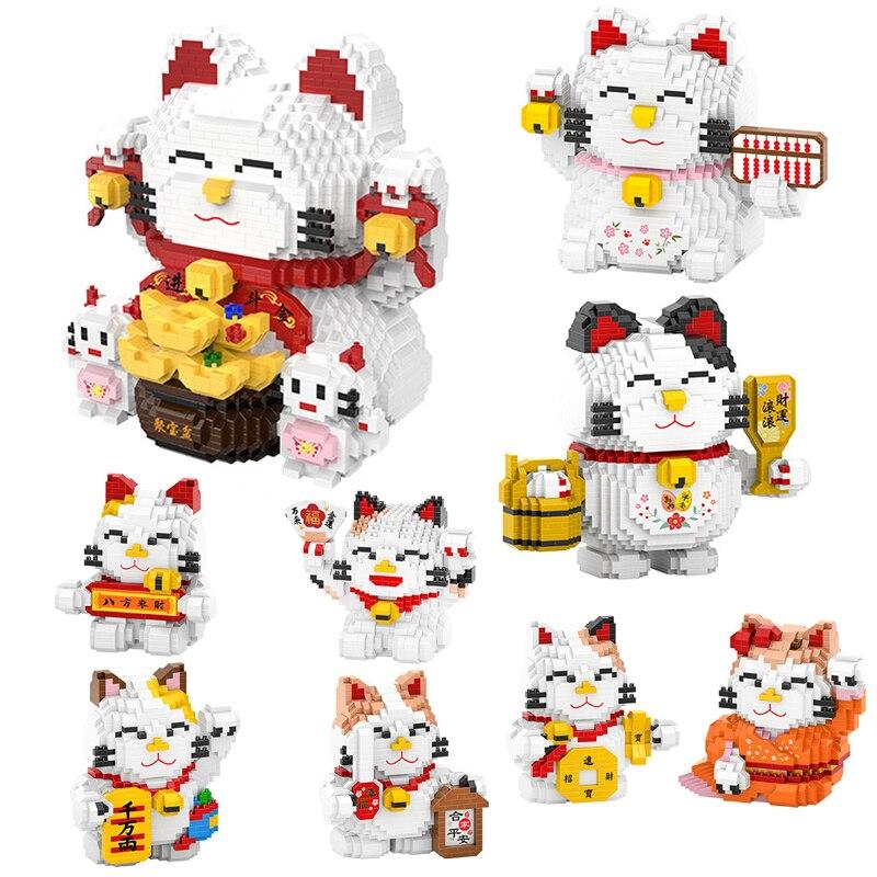 HC, gran gato de buena fortuna, ábaco, Vat Animal, modelo 3D DIY, Mini bloques de construcción de diamantes, juguete de bloques pequeños para niños sin caja