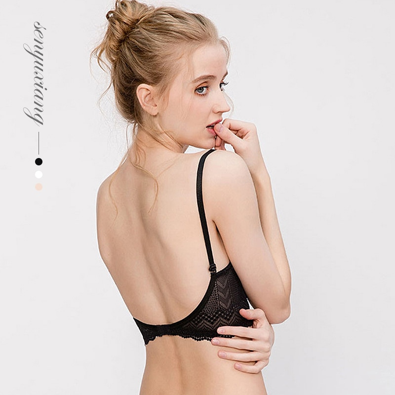 Sexy U-shaped Bra Beautiful Back Seamless Wirefree New French Style Bralette Lace Girls Small Chest Lingerie Underwear
