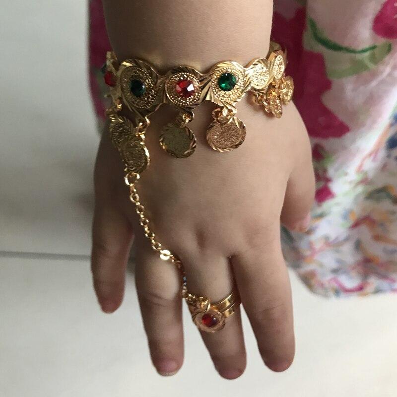 WANDO, Color dorado, moneda, pulsera, islámico, musulmán, árabe, monedas, pulsera para bebé niña, joyería del Medio Oriente, regalos africanos